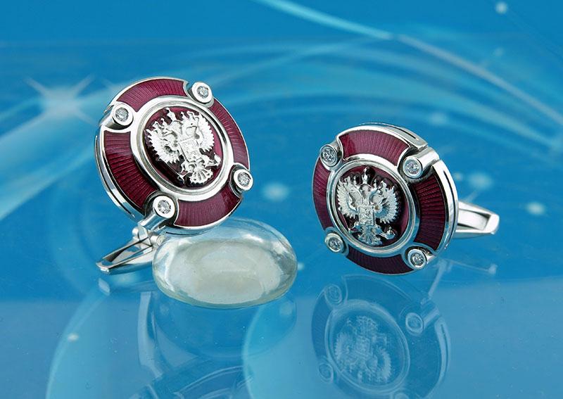 Запонки из серебра с гербом РФ