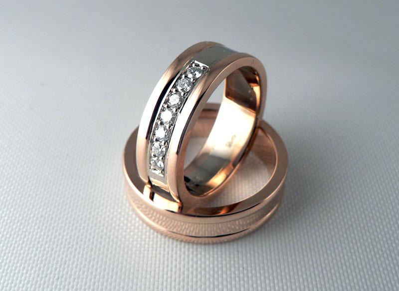 3c13c59b68f6 Эксклюзивные обручальные кольца, комбинированное золото, бриллианты