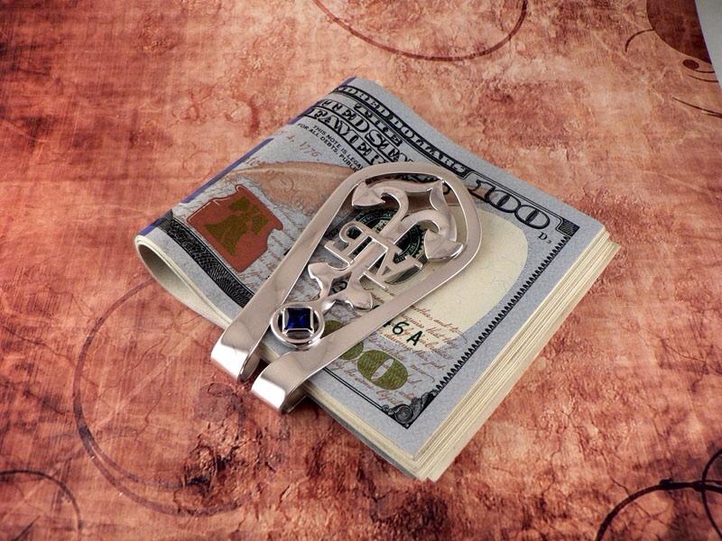 Серебряный зажим для денег инициалами