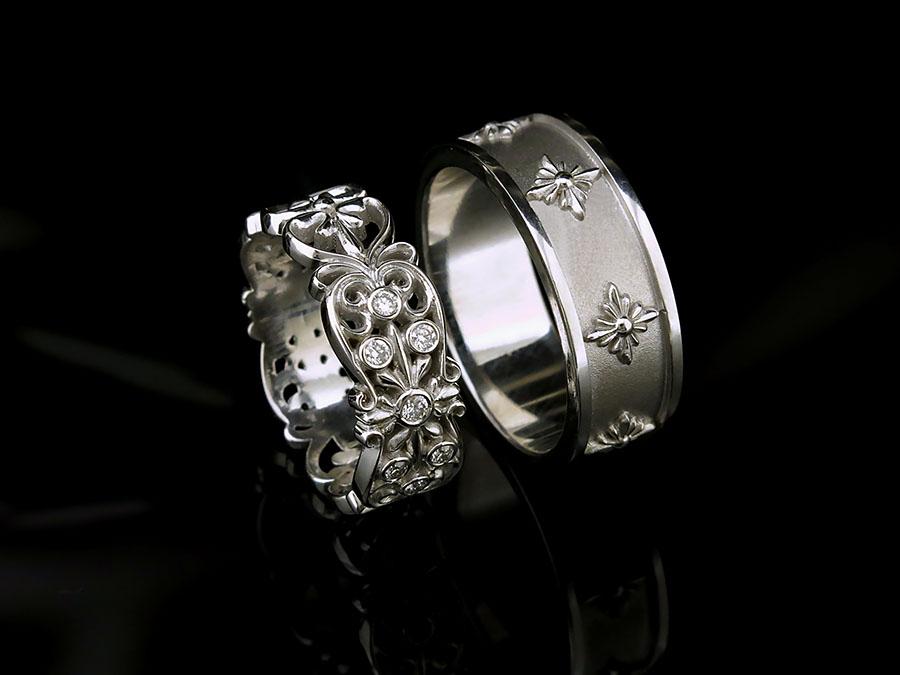 878a54a86eaa Обручальные кольца из белого золота с бриллиантами на заказ.