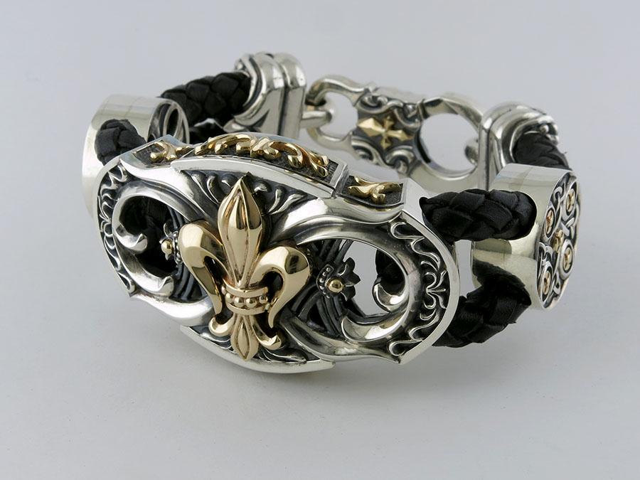 Мужской браслет из кожи и серебра от компании «Ювелирная коллекция»