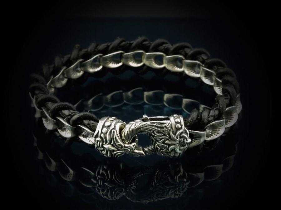 мужской браслет из кожи и серебра