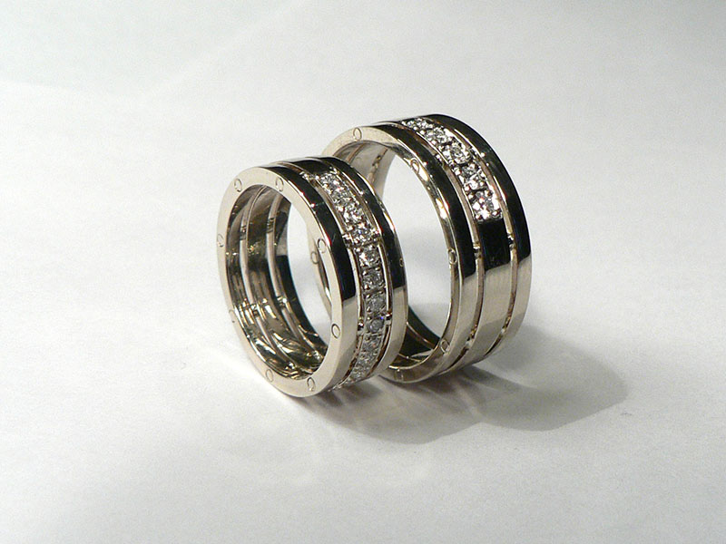 4d725d4d61e5 Обручальные кольца белое золото, инкрустация бриллиантами на заказ