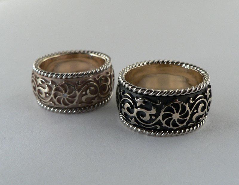 необычные кольца из золота с бриллиантами